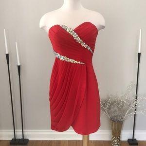 MeProm Moonlight Bridal red chiffon dress NWOT